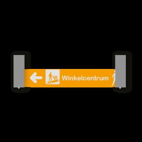Verwijsbord VOETGANGERS RAL7040 800x150 + reflex   Route   Montagestukken 80x80mm