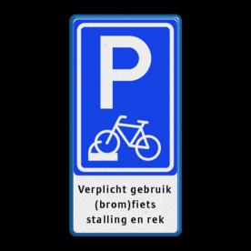 Parkeerbord fiets in fietsenrek - eigen tekst