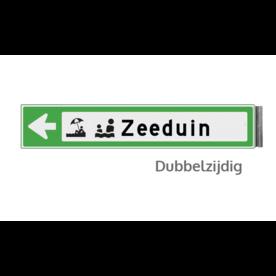 Bewegwijzeringsbord - DUBBELZIJDIG - 800x200x15mm RAL6024 1 regelig en pijl