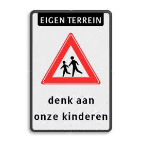 Verkeersbord ET RVVJ21 denk aan kinderen (WIT)
