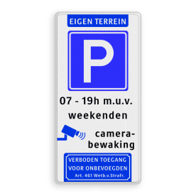 Parkeerbord 400x800mm et-E04-2txt-camera-vt461