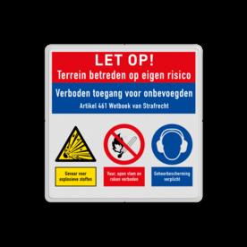Veiligheidsbord   3 symbolen + banners