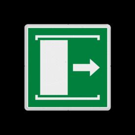 Vluchtroute bordje E033 - Deur naar rechts schuiven om te openen