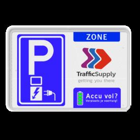 Parkeerbord elektrische voertuigen - eigen logo - accu vol?