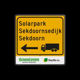 Routebord vierkant bouwverkeer + logo