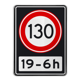 Verkeersbord RVV A01 130 OB201ps - Maximum snelheid 100 km/h