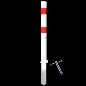 Antiparkeerpaal 70x70mm rood/wit, NEERKLAPBAAR - in bestrating parkeerpaal, driekant, sleutel, brandweerpaal, parkeren, rood-witte paal, anti-parkeerpaal, niet parkeren