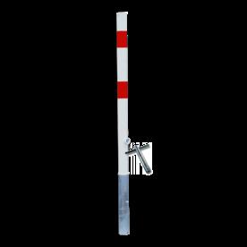 Antiparkeerpaal Ø60mm rood/wit, AFNEEMBAAR - in bestrating anti-parkeerpaal, parkeren, rood-witte paal, verboden te parkeren, parkeerbeugel, klappaal, klap paal, trottoirpaal, geen parkeerplaats, niet parkeren