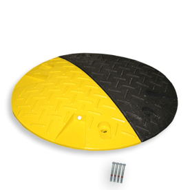 Snelheidsremmer Ø420x50mm geel/zwart punaise, snelheidsremmer, speedbump, drempel, verkeersdrempel