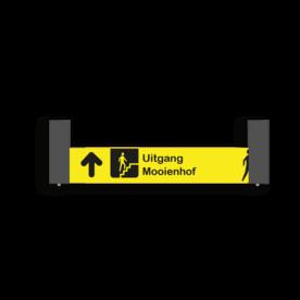 Verwijsbord VOETGANGERS RAL7016 1000x200 + reflex   geel/zwart   Montagestukken 80x80x400mm