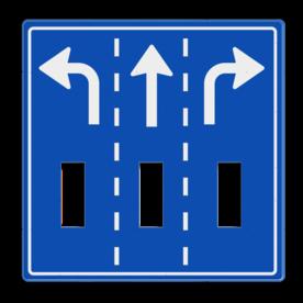 Route-, informatiebord 1180x1180 met uitsparingen voor 3x verkeerslicht - 2xø100mm Van der Kamp, betonmortel, logo, pijlbord