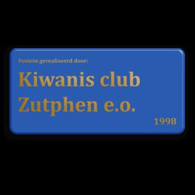 Logobord 2:1 blauw RECHTHOEK + goudkleurige opdruk zelf tekstbord maken, tekst invoeren, blauw bord