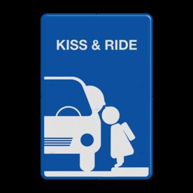 Informatiebord Zone voor parkeergelegenheid ten behoeve van het afzetten van iemand, Het zogenaamde zoen en zoef verkeersbord Informatiebord kiss & ride FC eigen ontwerp - L52b kiss, ride, kiss&ride, kiss ride,k+r, eigen ontwerp, schoolplein, speciale borden,  zoen en zoef, L52b, L52e, L52