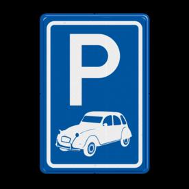 Parkeerbord type E08 automerk - 2CV stoep, parkeerplek, parkeerplaats, auto, electrisch, E8, citroen, eend, 2 cv