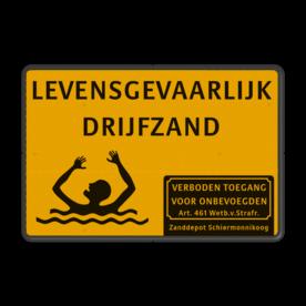 Informatie 3:2 geel/zwart - Levensgevaarlijk Drijfzand drenkeling, gevaarlijk terrein, drijfzand
