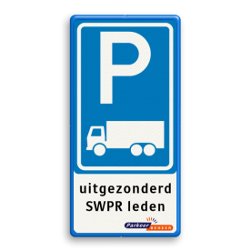 Verkeersbord RVV E08 parkeerplaats vrachtverkeer + eigen tekst + logo Verkeersbord RVV E08c - 3txt - logo eigen parkeerbord, E9, consul generaal grenada