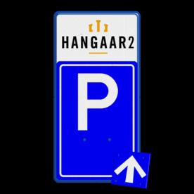 Bewegwijzering LET OP! Het getoonde bord is een voorbeeld, en kan NIET zo besteld worden. Hierop rust auteursrecht. U kunt uw eigen ontwerp aanleveren. Bewegwijzering parkeerplaats + logo | BW201 + los pijlbord Wit / blauwe rand, (RAL 5017 - blauw), BEW201, Theater hangaar