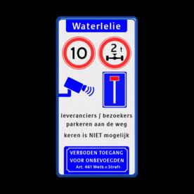Verkeersbord 400x800mm STRAATNAAM - 4 verkeerstekens-art461 parkeerbord, logo, verboden toegang, engelse tekst, eigen terrein, parkeerverbod, wegsleepregeling, speciale borden, camera, A1