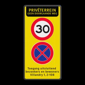 Verkeersbord Privéterrein met maximale snelheid en parkeerverbod Verkeersbord 400x800mm PT-A01-E021-3txt FLUOR verboden toegang artikel 461, eigen terrein, parkeerterrein, wegsleepregeling , bedrijfsnaam, logo, parkeerverbod, uitrit vrijlaten, E1, fluor,