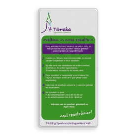Informatiebord Speeltuin 't Toreke full-colour opdruk logobord, eigen ontwerp, schoolplein, speciale borden