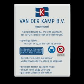 Entreebord 600x800 in huisstijl - met eigen tekst Van der Kamp, betonmortel, logo, pijlbord