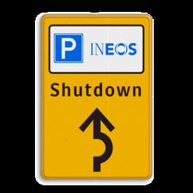 Informatiebord parkeren bedrijfsnaam/logo - geel/zwart/blauw + tekst en pijl Tekstbord, WIU bord, tijdelijke verkeersmaatregelen, werk langs de weg, omleidingsborden, tijdelijk bord, werk in uitvoering, 3 regelig bord, J16