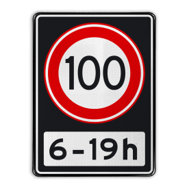 Verkeersbord Maximum toegestane snelheid 100 kilometer per uur tussen 06 en 19 uur Verkeersbord RVV A01 100 OB201ps - Maximum snelheid 100 km/h A01100OB201ps RWS, Rijkswaterstaat, snelheidsbord, snelheidbord, 100 km bord, snelheid, A1, maximumsnelheid, maximum snelheid, maximalesnelheid, maximale snelheid, tijdsvak, tijdszone
