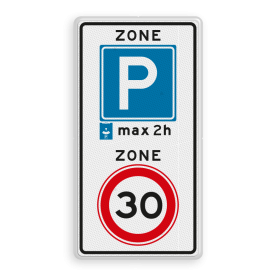 Verkeersbord RVV A0130E10-2zb - ZONE bord begin parkeren, maximum snelheid, eigen tekst, A1, E4, ZONE, snelheidsbord, maximalesnelheid, maximale snelheid, maximumsnelheid, maximum snelheid, parkeer zone