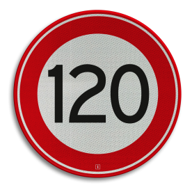 Verkeersbord Maximum toegestane snelheid 120 kilometer per uur Verkeersbord RVV A01-120 - Maximum snelheid 120 km/h A01-120 snelhiedsbord, snelheidbord, 120 km bord, snelheid, zonebord, einde, 120 km per uur, A1