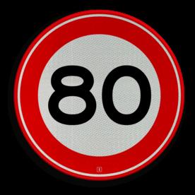 Verkeersbord Maximum toegestane snelheid 80 kilometer per uur Verkeersbord RVV A01-080 - Maximum snelheid 80 km/h A01-080 snelhiedsbord, snelheidbord, 80 km bord, snelheid, zonebord, einde, 80 km per uur, A1, maximalesnelheid, maximale snelheid, maximumsnelheid, maximum snelheid