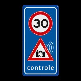 Verkeersbord Snelheidscontrole - fotocamera snelheidsbord, snelheidbord, camera controle, maximumsnelheid, maximum snelheid, maximalesnelheid, maximale snelheid, 30 kilometer