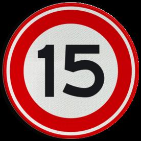 Verkeersbord Maximum toegestane snelheid 15 kilometer per uur Verkeersbord RVV A01-15 - Maximum snelheid 15 km/h A01-015 snelheid, jarig, snelheid, snelheidsbord, maximalesnelheid, maximale snelheid, maximumsnelheid, maximum snelheid