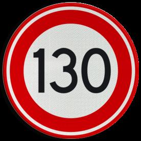 Verkeersbord Maximumsnelheid 130 kilometer per uur Verkeersbord RVV A01-130 - Maximum snelheid 130 km/h A01-130 snelhiedsbord, snelheidbord, 130 km bord, snelheid, zonebord, einde, 130 km per uur, A1, maximalesnelheid, maximale snelheid, maximumsnelheid, maximum snelheid