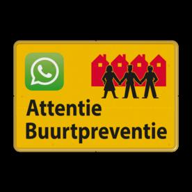 Verkeersbord OV0495 Attentie Buurtpreventie - WhatsApp - geel Whats App, WhatsApp, watsapp, preventie, attentie, velserbroek