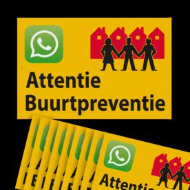 Verkeersbord sticker OV0495 Attentie Buurtpreventie - WhatsApp - geel (Set 10 stuks) Whats App, WhatsApp, watsapp, preventie, attentie