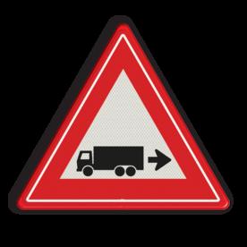 Verkeersbord rechts achteruitrijdende vrachtwagen Verkeersbord rechts achteruitrijdende vrachtwagen Vrachtwagen, oppassen, achteruit