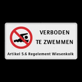 Verkeersbord VERBODEN TE ZWEMMEN + eigen tekst Verkeersbord RVV C01 zwemmen verboden - 3txt-ondertekst niet zwemmen, duiken,  eigen tekst, eigen terrein, C1