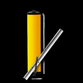 Product Vluchtheuvelbaken Vluchtheuvelbaken RVV BB22 ALUMINIUM ø48/48 (t.b.v. buispaal) BB22 BM21, vluchtbaken, gele zuil, middenberm, middengeleider, BM18, bm 18