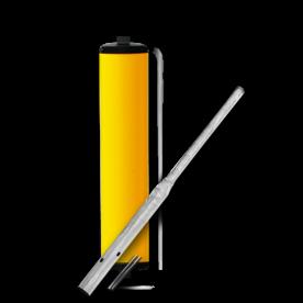 Product Vluchtheuvelbaken Vluchtheuvelbaken RVV BB22 ALUMINIUM ø76/48 (t.b.v. flespaal) BB22 BM21, vluchtbaken, gele zuil, middenberm, middengeleider, BM18, bm 18