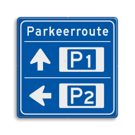 Bewegwijzering Parkeerroute 2 richtingen - vierkant Wit / blauwe rand, (RAL 5017 - blauw), BEW201, Theater hangaar