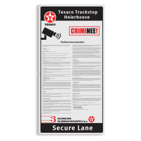 Informatiebord trucks - CRIMNEE - 500x1000x4mm Ingang Parkeervoorwaarden en camerabewaking, logo, texaco