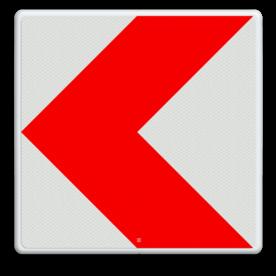 Verkeersbord RVV BB12l rijrichting, pijl, rood wit, bocht, BB12l