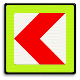 Verkeersbord RVV BB12lf - fluor rand bocht, rijrichting, pijl, rood wit, BB12lf, BB12, links, fluor