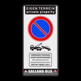 Parkeerbord E01 + tekst pictogram en logo parkeerbord, logo, verboden toegang, engelse tekst, eigen terrein, parkeerverbod, wegsleepregeling, speciale borden, E1