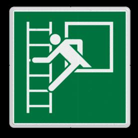 Veiligheidspictogram Brand trap locatie Veiligheidspictogram - Noodraam met vluchtladder - E016 Brand, vuur, trap, hulp, help, brandweer, vuur
