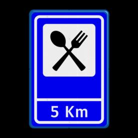 Verkeersbord RVV BW101Sxxx+ afstandsaanduiding Wit / blauwe rand, (RAL 5017 - blauw), BEW101 pijl rechts, Boerencamping