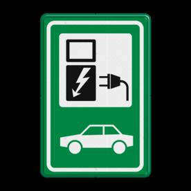 Verkeersbord gelijkend BW101_SP19 groen-wit - auto laadpunt electrische, groene stroom, nieuw verkeersbord, BW101, oplaadpount, auto laden, autolaadpunt, laadpaal, oplaadpalen, oplaadpaal