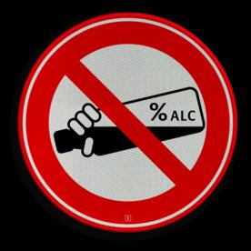 Informatiebord Verboden alcohol te nuttigen Informatiebord rond rood/wit - alcoholverbod cadeau, kado, soepbord, verboden, alcohol