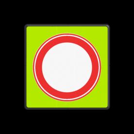 Verkeersbord Gesloten in beide richtingen voor voertuigen, ruiters en geleiders van rij- of trekdieren of vee Verkeersbord RVV C01f - Gesloten voor Alle verkeer - fluor achtergrond C01f Fluor geel-groen / zwarte rand, (RAL 9005 - zwart), C07, Onderbord OB108 - uitgezonderd bestemmingsverkeer