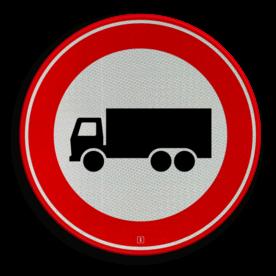 Verkeersbord Gesloten voor vrachtwagens: motorvoertuig, niet ingericht voor het vervoer van personen, waarvan de toegestane maximum massa meer bedraagt dan 3500 kg Verkeersbord RVV C07 - Gesloten voor vrachtauto's C07 verbodsbord, verboden voor vrachtwagens, geen vrachtwagens, verboden, vrachtauto's, c7, gesloten toegang, gesloten verklaring